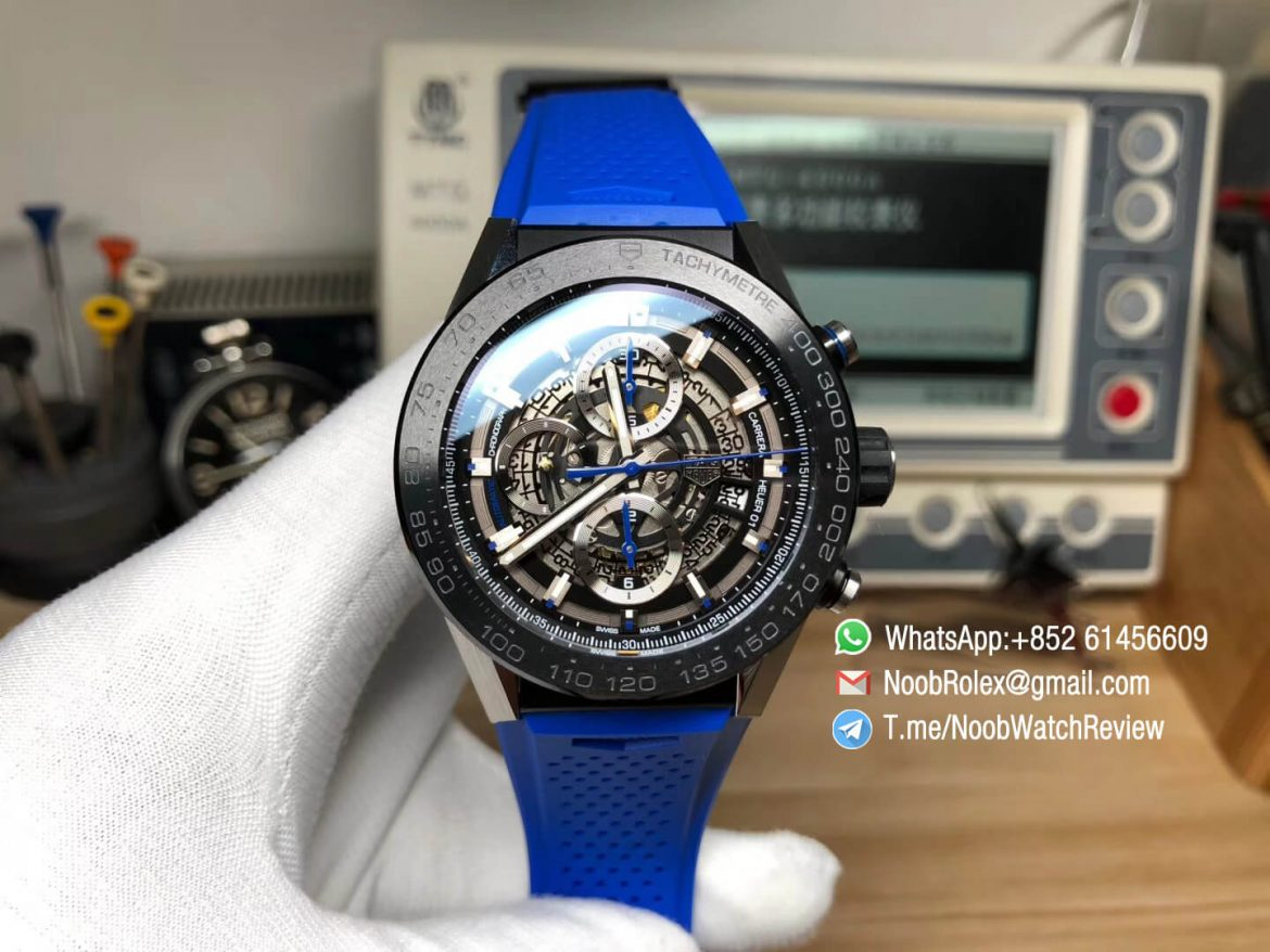 XF Best Quality Tag Heuer Carrera CAL Heuer 01 Chrono PVD Case Skeleton Dial Blue Hand Blue Rubber Strap Asain Clone 1887 Movement 01
