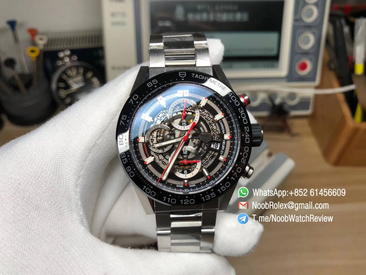 XF High Quality Tag Heuer Carrera CAL Heuer 01 Chrono PVD Case Skeleton Dial Red Hand Steel Bracelet on Asain Clone 1887 Movement 01