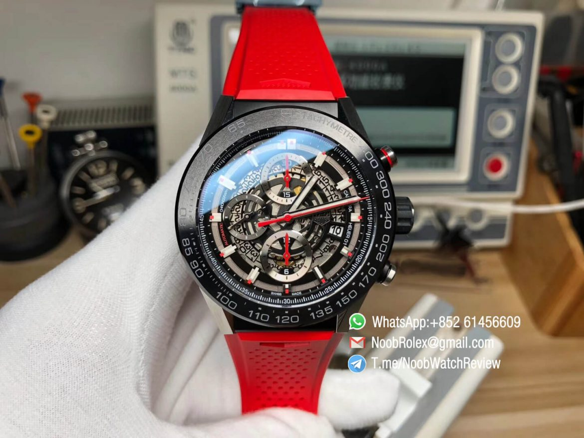 XF Top Rep Tag Heuer Carrera CAL Heuer 01 Chrono PVD Case Skeleton Dial Red Hand Red Rubber Strap Asain Clone 1887 Movement 01