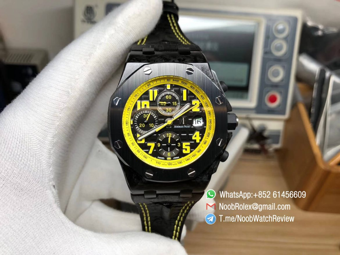 JF Best Edition Royal Oak Offshore Bumble Bee Forged Carbon on Black Hornback Leather Strap A7750 V2 01