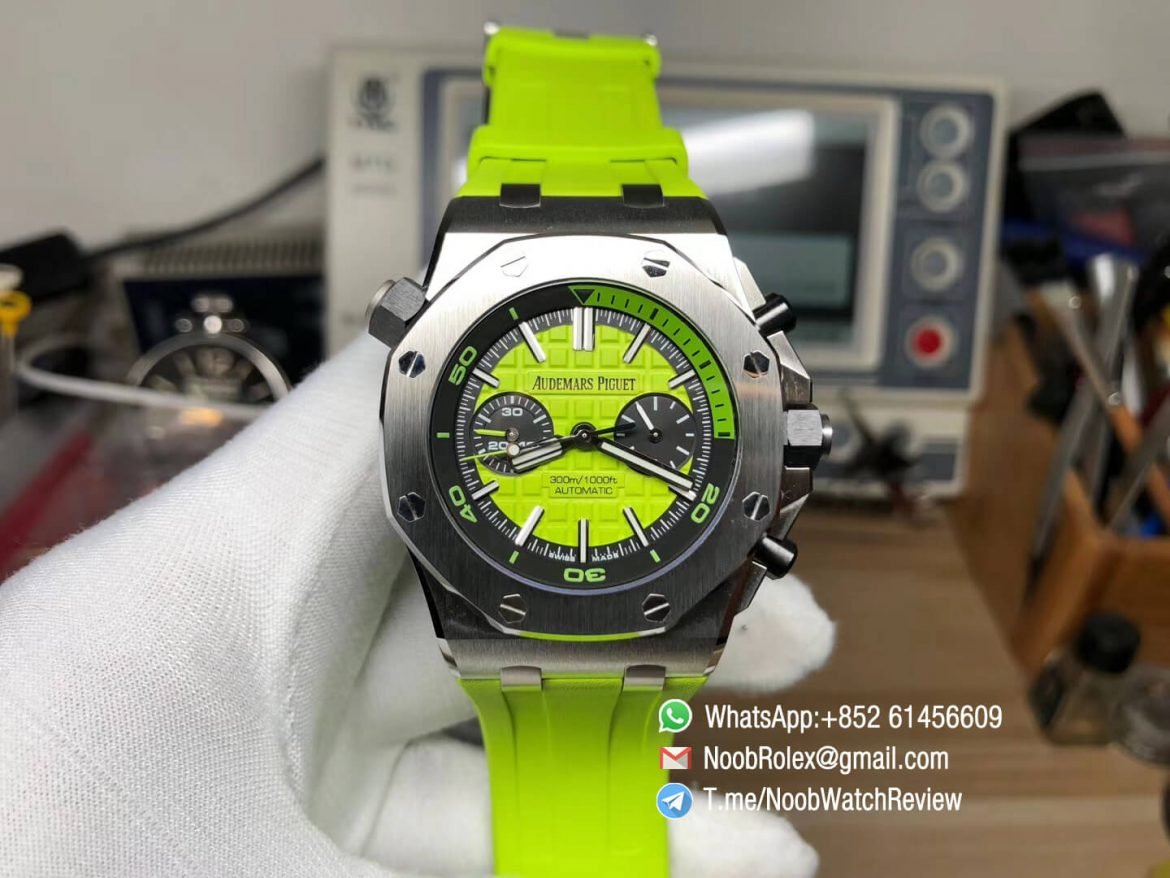 JF Best Edition Royal Oak Offshore Diver Chronograph Green Dial on Green Rubber Strap A3126 V2 01