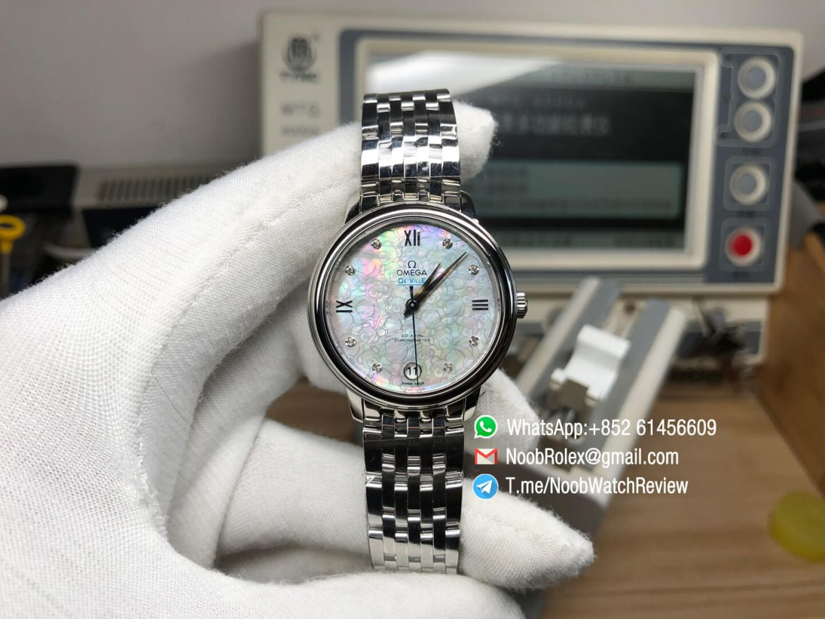 MKS Top Replica De Ville Prestige Co Axial Ladies watch Orbis Stainless Steel Case MOP Dial with Diamonds and Date Automatic 01