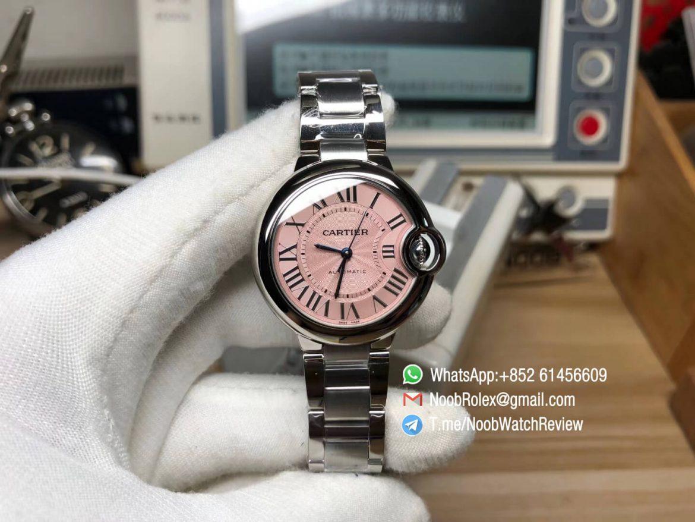 AF High Quality Rep Ballon Bleu De Cartier W6920100 33mm Swiss ETA 2671 Automatic Pink Textured Dial on Steel Case Bracelet 01