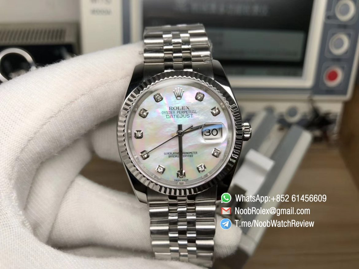 EWF Top Quality Rolex DateJust 36 Steel Case 126234 White MOP Dial with Diamonds Markers on Jubilee Bracelet A3235 01