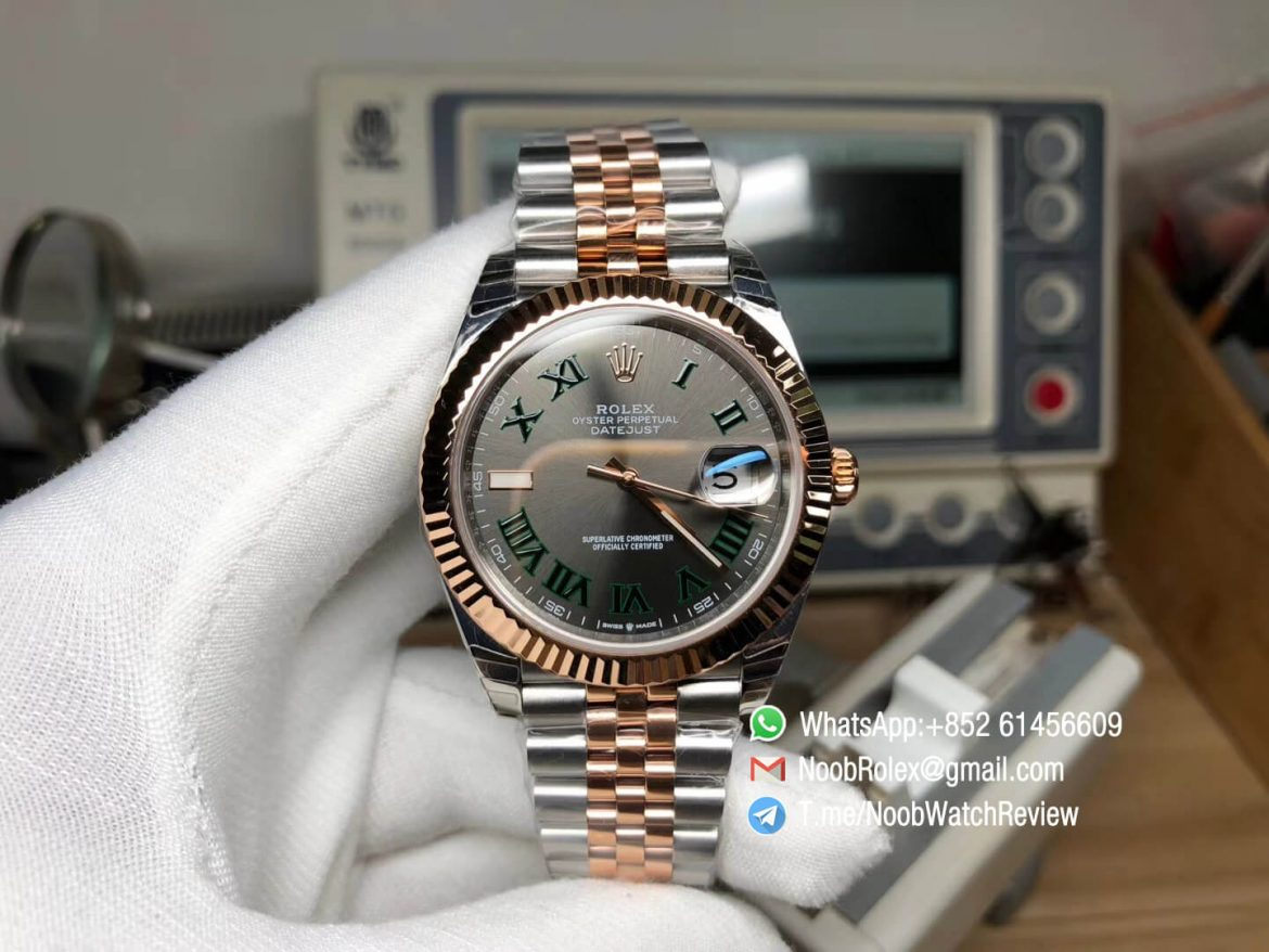 GMF Sup Rep Rolex DateJust 126331 41mm 904L Steel Case Wrapped Rose Gold Gray Dial Stick Marker On Two Tone Oyster Bracelet SA3255 01