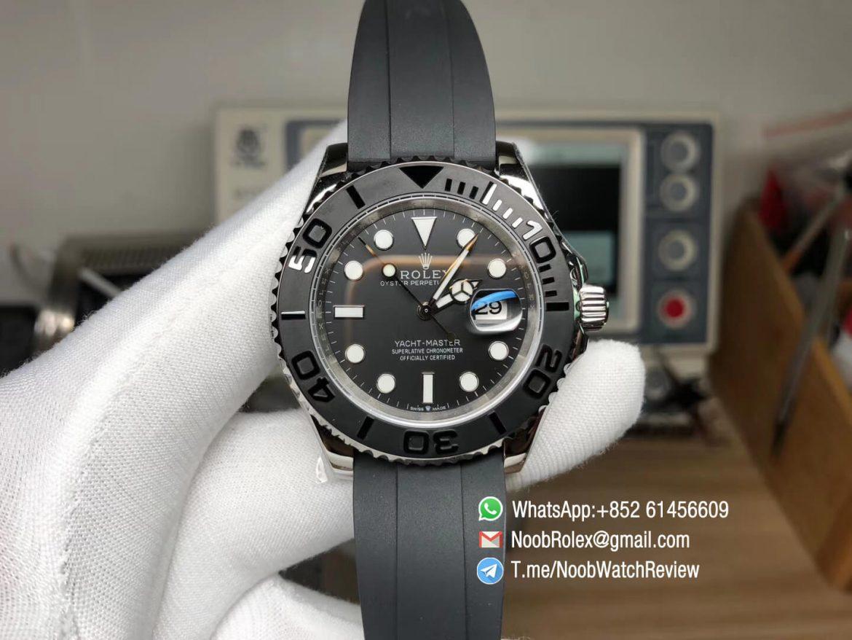 GMF Swiss Watch Replica Manufacturer Rolex Yacht Master 42mm 226659 3D Black Ceramic Bezel on Black Rubber Strap SA3235 01