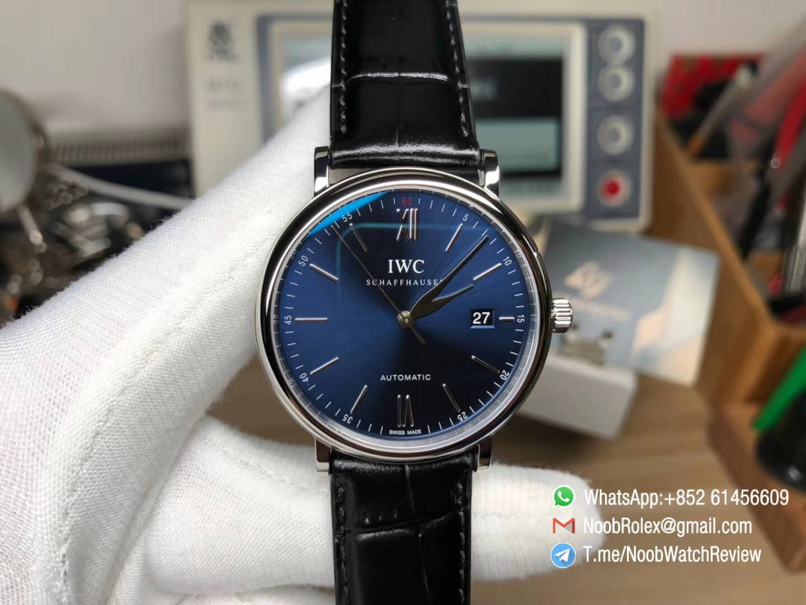 MKS Replica Swiss Watch IWC Portofino IW356512 Automatic Stainless Steel Case Blue Dial on Black Leather Strap A2892 01
