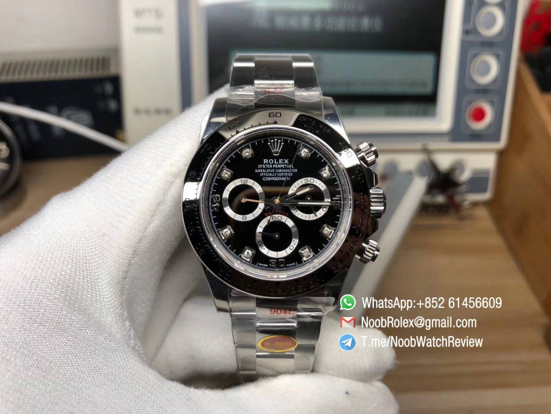 Noob Factory Rolex Daytona 116509 904L Stainlees Steel Case and Bracelet Black Dial Diamonds Markers SA4130 V3 01