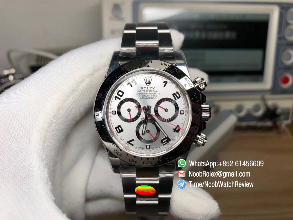 Noob Watches Rolex Daytona 116509 904L Stainless Steel Case and Bracelet Silver Dial with Red Hands SA4130 V3 01