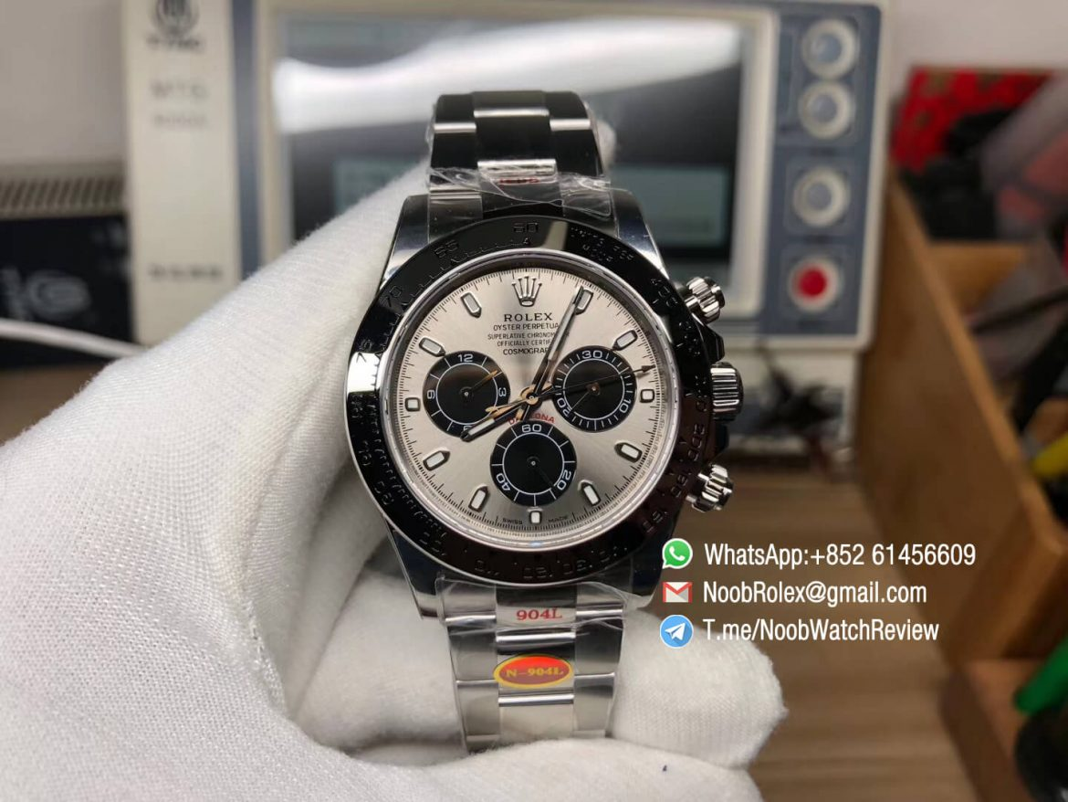 Noob Watches Rolex Daytona 116509 904L Steel Case and Bracelet Gray Dial Black Sub Dial SA4130 V3 01