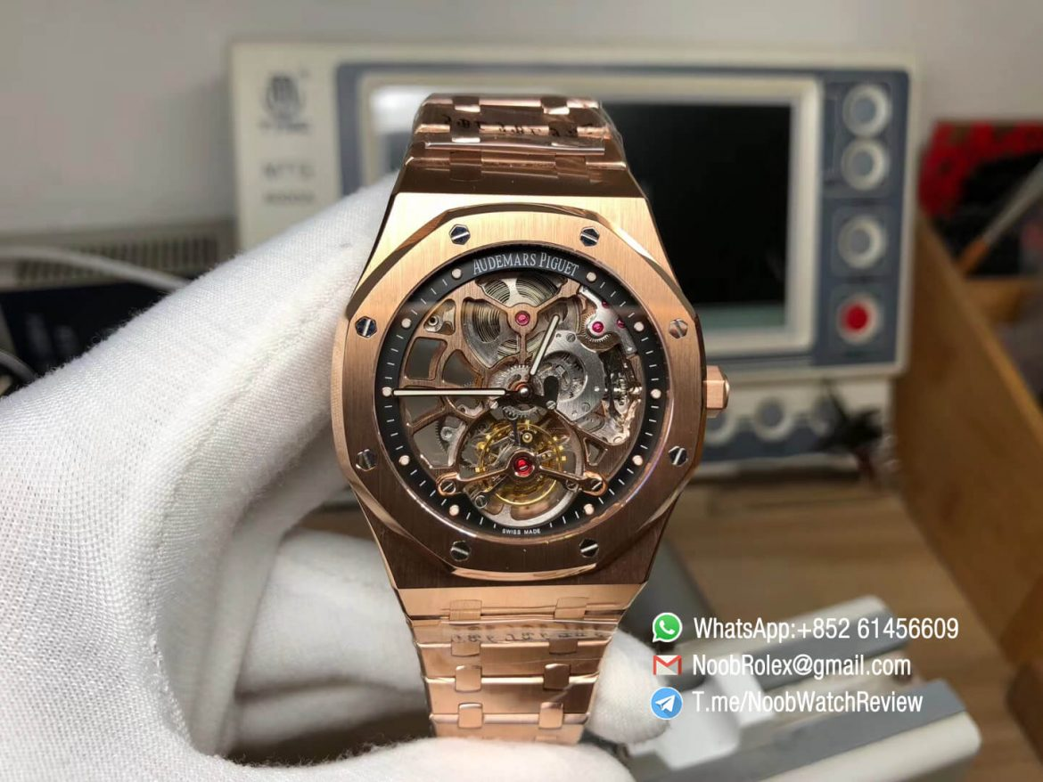 R8F RepWatch AP Royal Oak 26518OR V2 Real Tourbillon 18K Rose Gold Case Bracelet Skeleton Dial Seagull Movement 01