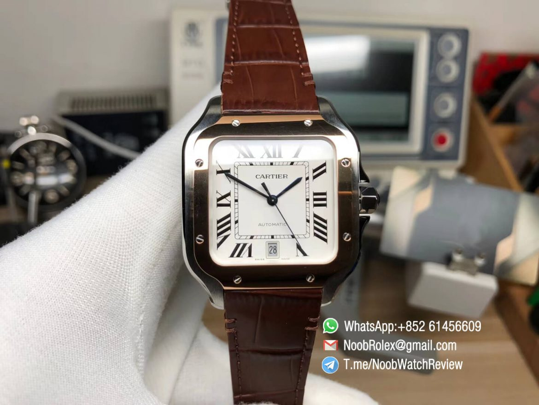 V6F Santos De Cartier 40mm Mens White Dial Steel Case Rose Gold Bezel wtih Brown Leather Strap Miyota 9015 Movement 01