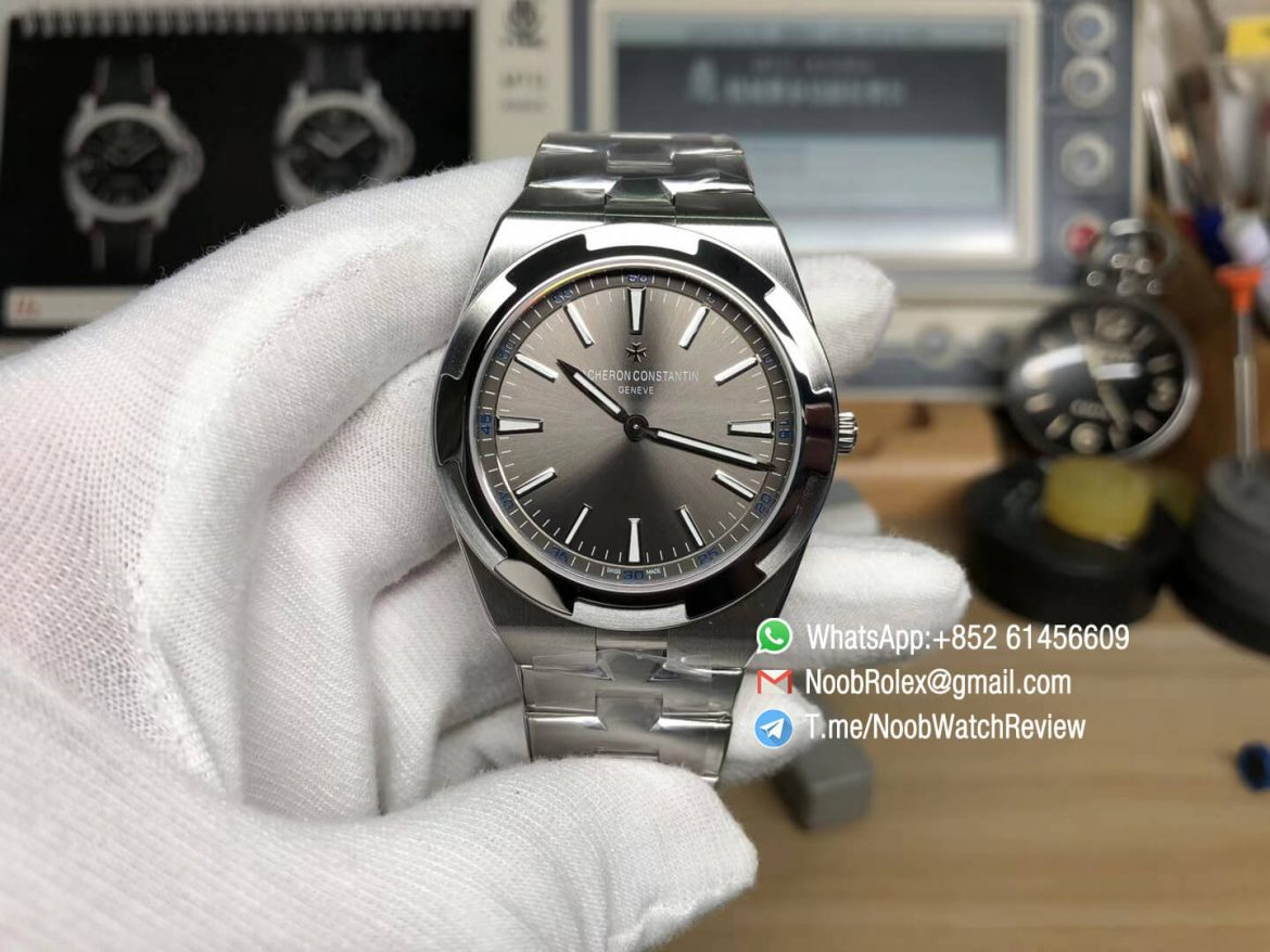XF Sup Clone Overseas Ultra Thin 2000V Grey Dial with Stick Markers Superlume on Steel Case Bracelet A1120 01