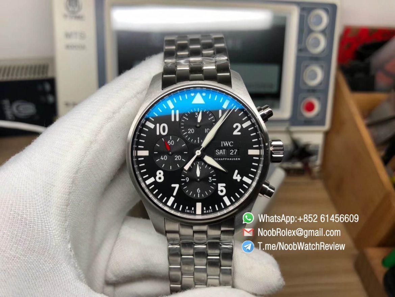 ZF V2 IWC Pilot Chrono IW377710 Black Dial on Steel Case Bracelet A7750 Swiss Watch Replica Manufacturer 01