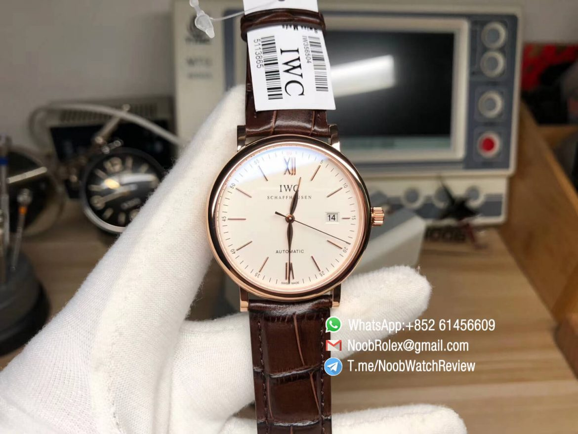Top Rep IWC Portofino IW356504 Automatic Rose Gold Plated White Dial on Brown Leather Strap Miyota 9015 MKF V5 01