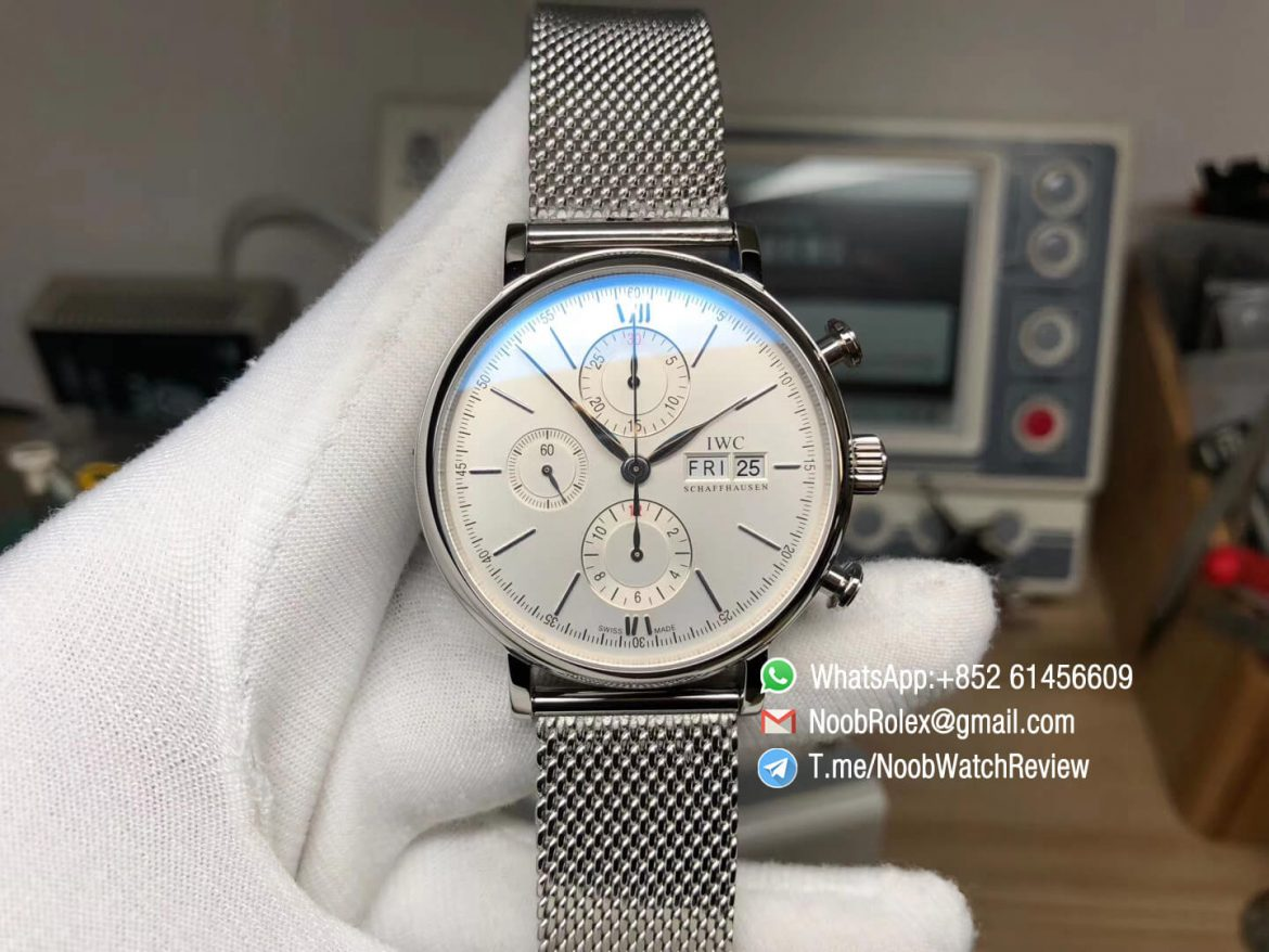 Top Rep Portofino Chronograph IW391009 42mm Steel Case White Dial Day Date on Steel Mesh Bracelet A7750 Automatic 01