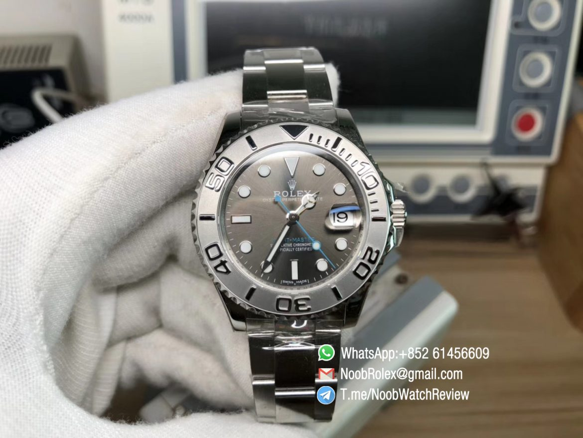 ARF Top Replica Rolexes Yacht Master 268622 Ladies Watch 37mm 904L Steel Case Bracelet Gray Dial A2824 Movement 01