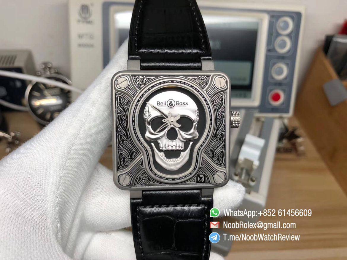 Bell Ross BR01 Silver Case Burning Skull Tattoo Watch Silver Dial on Black Leather Strap MIYOTA 9015 Top Quality Clone 01