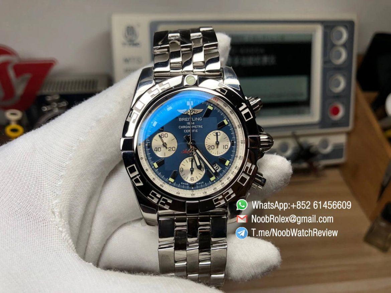 Breitling Chronomat B01 44 Steel Case Bracelet Blue Dial on A7750 Chrono Movement GF High Quality Replica 01
