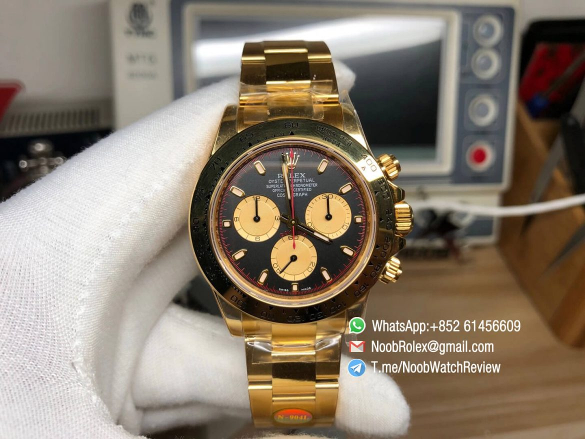 Noob Rolex Daytona 116508 Paul Newman 18K Yellow Gold Plated on 904L Steel Case and Bracelet Black Gold Dial SA4130 V3 01