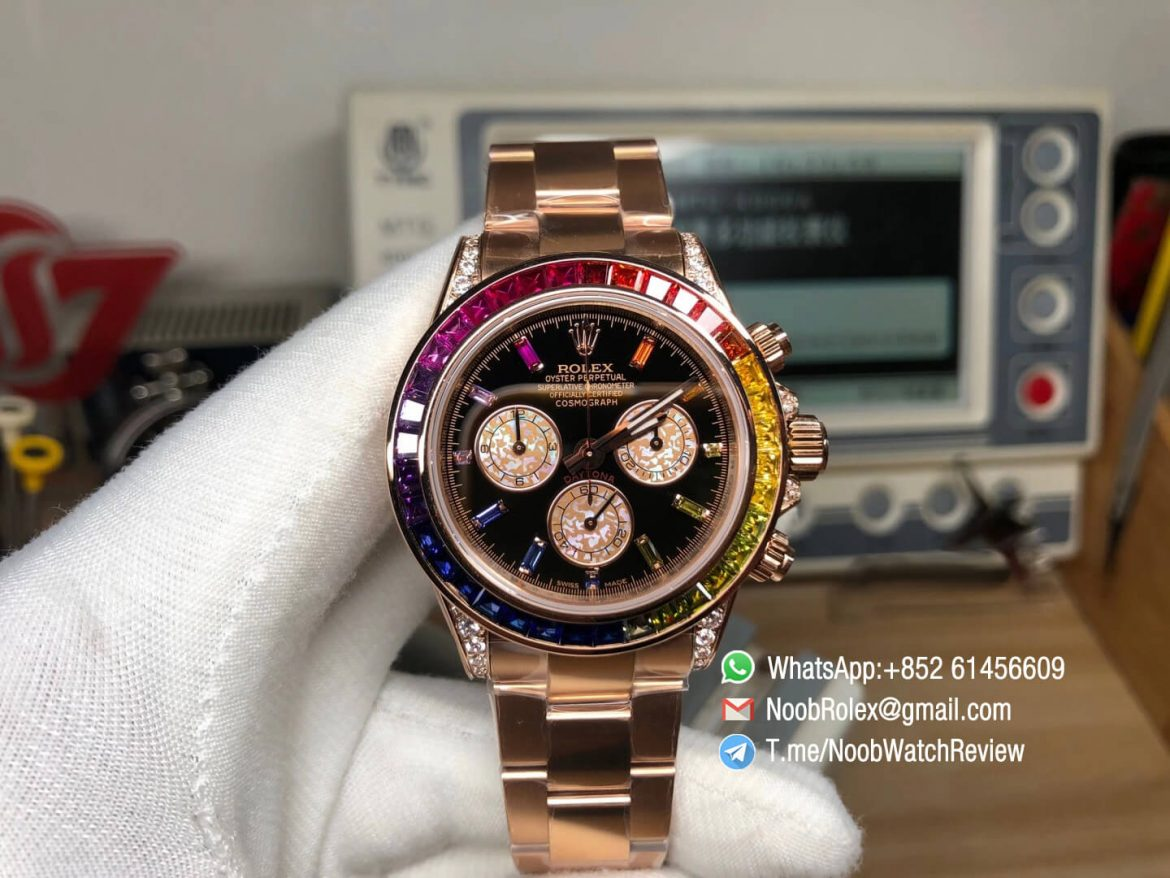 Rolex Daytona 116595RBOW Rose Gold Case Rainbow Crystal Black Dial on RG Bracelet A4130 BLF Rolex Copies 01