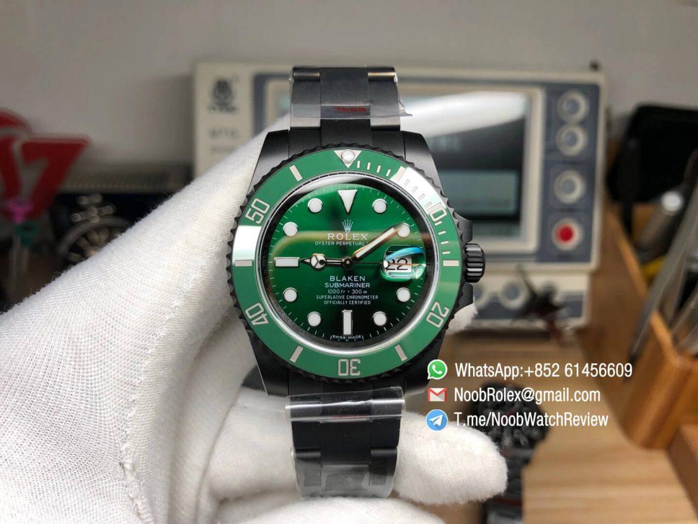 Rolex Submariner Blaken Green Style Black PVD Case Bracelet Green Dial Green Ceramic Bezel A2836 OXF Top Quality RepRolex 01