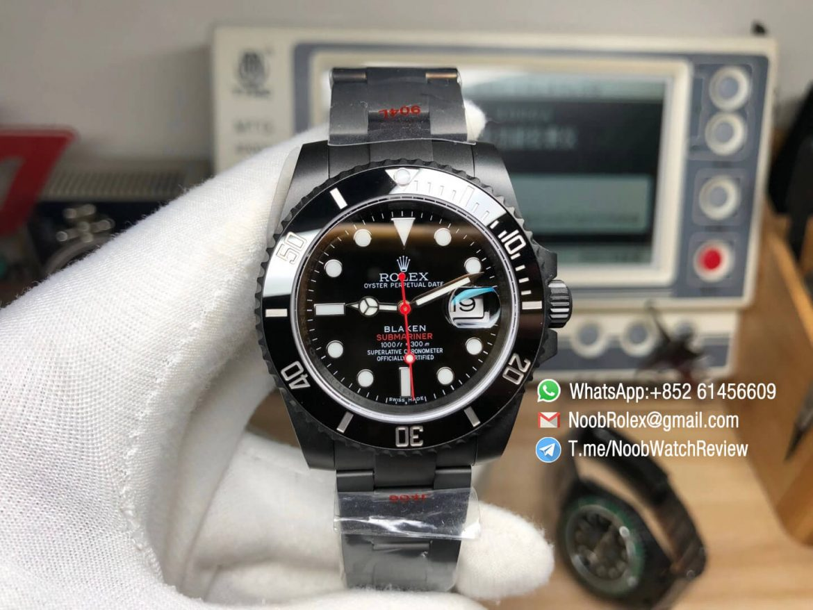 Rolex Submariner Blaken Single Red Black PVD Case Bracelet Black Dial OXF Best Replica Customized Watch 01