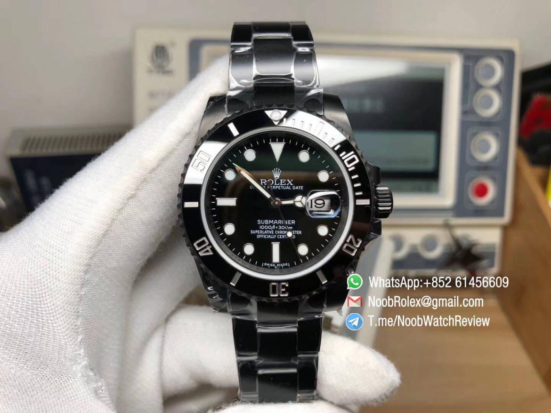 Rolex Submariner Full Black DLC Plated on Soild 316L Steel Case Bracelet Black Bezel Black Dial A2836 High Clone 01