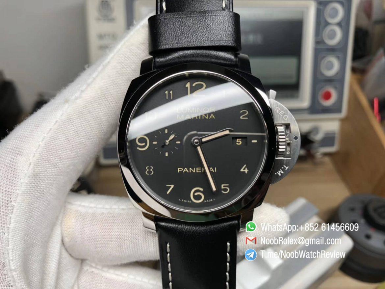 Super Copy Panerai Luminor Marina PAM00359 Steel Case Black Dial with Black Leather Strap P9000 VSF Super Clone V2 01