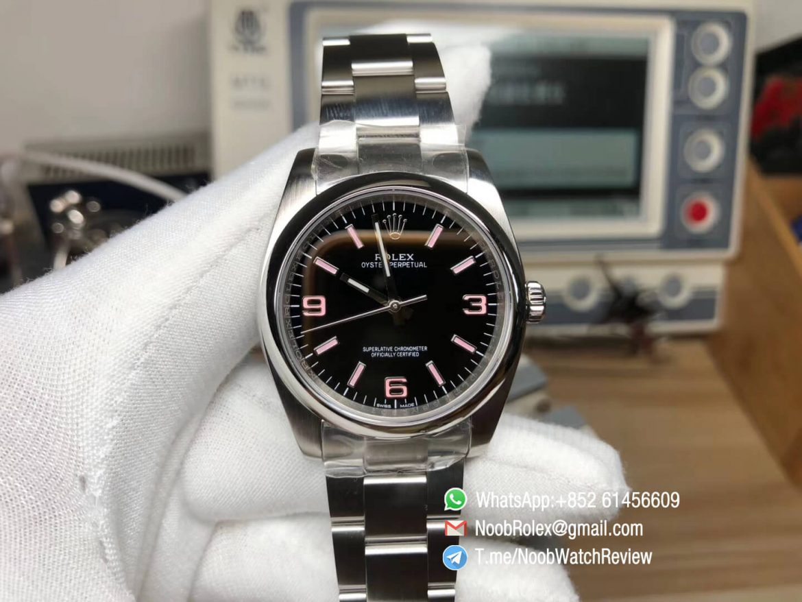 Oyster Perpetual 36mm 116000 Steel Case and Bracelet Black Dial Pink Indexes APT5000 KRF Superclone Unisex Watch 01