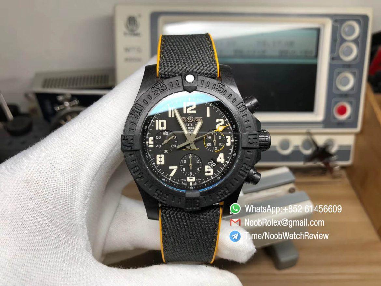 GF Superclone Breitling Avenger Hurricane 45mm Chrono Carbon Case Black Dial on Black Nylon Strap A7750 01