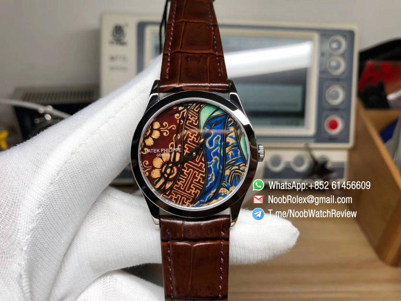 FLF Best Clone Watch Patek Philippe Calatrava Bhutan Textiles 5077P 102 on Brown Leather Strap A240 Micro Rotor 01